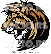 Vector of a Dominant Male Lion Mascot Growling While Staring with Intimidating Eyes by Chromaco