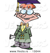 Vector of a Dorky Cartoon Teen Boy Graduate Posing by Toonaday