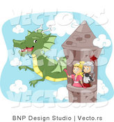 Vector of a Dragon Flying Around Tower with Young Cartoon Knight and Princess by BNP Design Studio
