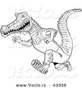 Vector of a Drooling Cartoon Alligator Running Fast - Coloring Page Outline by LaffToon