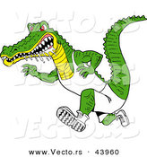 Vector of a Drooling Cartoon Alligator Running Really Fast with an Aggressive Look by LaffToon