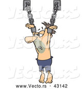 Vector of a Dying Cartoon White Male Prisoner Chained to a Wall by Toonaday