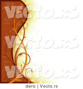 Vector of a Earth Toned Orange Border Background with Waves and Vines by Dero