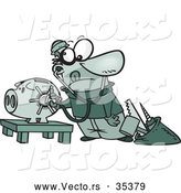 Vector of a Educated Cartoon Robber Unlocking a High Tech Piggy Bank Vault by Toonaday