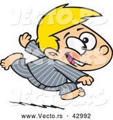 Vector of a Excited Cartoon Boy Running Rast in His Pajamas by Toonaday