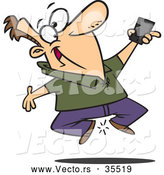 Vector of a Excited Cartoon Man Jumping up and down While Holding His Cell Phone by Toonaday