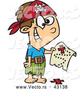 Vector of a Excited Cartoon Pirate Boy Holding a Map over the X on the Ground by Ron Leishman