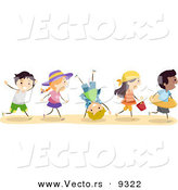 Vector of a Excited Diverse Group of Kids Running to the Beach by BNP Design Studio