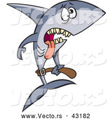 Vector of a Exhausted Cartoon Anorexic Shark Starving and Underweight by Ron Leishman