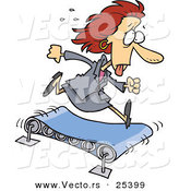 Vector of a Exhausted Cartoon Businesswoman Running on a Treadmill by Ron Leishman