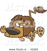 Vector of a Exhausted Cartoon Lion Laying on Ground with Legs and Tongue out by Ron Leishman
