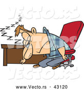 Vector of a Exhausted Cartoon Man Sleeping at His Office Desk by Toonaday