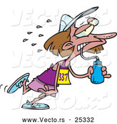 Vector of a Exhausted Cartoon Woman Running a Marathon While Drinking Water by Toonaday