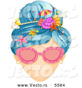 Vector of a Faceless Girl's Hair Decorated Beach Style with Shells, Starfish, an Umbrella, and Sun by BNP Design Studio