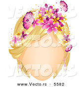 Vector of a Faceless White Girl with Butterflies and Flowers Decorating Her Blond Hair by BNP Design Studio