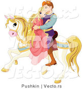 Vector of a Fairy Tale Prince Riding off with a Princess on a Horse by Pushkin