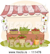 Vector of a Farmer's Market Stand with Plants and Produce by BNP Design Studio