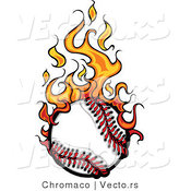 Vector of a Fast Baseball on Fire by Chromaco