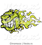 Vector of a Fast Flaming Tennis Ball Mascot by Chromaco