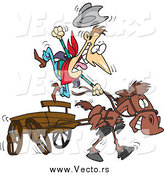 Vector of a Fast Horse Pulling an Old Fashioned Wood Wagon with an Excited Cowboy by Ron Leishman