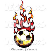 Vector of a Fast Soccer Ball Engulfed in Flames by Chromaco