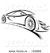 Vector of a Fast Sports Car - Black Lineart by Vector Tradition SM