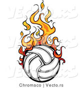 Vector of a Fast Volleyball with Trailing Flames by Chromaco