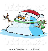 Vector of a Fat Cartoon Christmas Snowman Wearing a Santa Hat by Toonaday