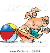 Vector of a Fat Cartoon Pig Eating Chips at the Beach Beside a Ball by Toonaday