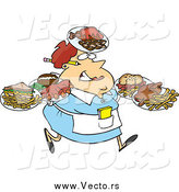 Vector of a Fat White Female Waitress Carrying Many Plates by Ron Leishman