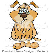 Vector of a Fatigued Cartoon Dog with Touching His Upset Stomach by Dennis Holmes Designs