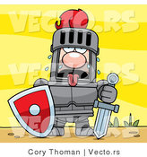 Vector of a Fatigued Knight Sweating in Armor While Holding Heavy Sword and Shield by Cory Thoman
