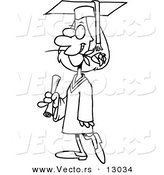 Vector of a Female Cartoon College Graduate Walking with a Rose in Her Mouth - Coloring Page Outline Version by Toonaday