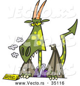 Vector of a Female Cartoon Dragon Standing Behind a Desk with a 'GROVEL!' Name Plate by Ron Leishman