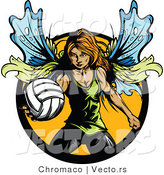 Vector of a Female Fairy with Volleyball by Chromaco