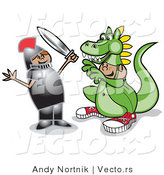 Vector of a Female Knight Fighting Boy Wearing Dragon Costume by Andy Nortnik