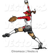 Vector of a Female Softball Baseball Pitcher Winding-Up to Throw Ball by Chromaco