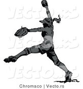 Vector of a Female Softball Player Pitching a Ball - Grayscale by Chromaco