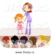 Vector of a Female Teacher Giving a Girl a Medal by BNP Design Studio