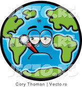 Vector of a Feverish Cartoon Earth with Thermometer in Mouth by Cory Thoman