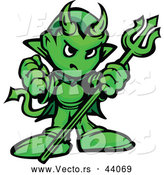 Vector of a Fierce Cartoon Green Devil with Hand Balled into a Fist While Holding a Trident by Chromaco