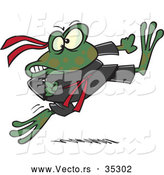 Vector of a Fierce Cartoon Ninja Frog Kicking by Toonaday