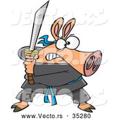 Vector of a Fierce Cartoon Ninja Pig with Sword by Toonaday