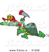 Vector of a Fire Fighter Tortoise Carrying an Axe by Ron Leishman