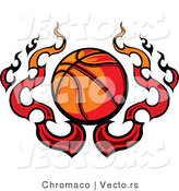 Vector of a Flaming Cartoon Basketball Design by Chromaco