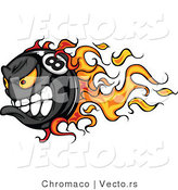 Vector of a Flaming Competitive Cartoon Billiards Eight Ball Mascot Speeding While Gritting Teeth by Chromaco