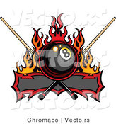 Vector of a Flaming Eight Ball Banner with Billiards Que Sticks by Chromaco