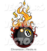 Vector of a Flaming Eight Ball Rolling Quickly by Chromaco