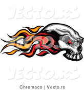 Vector of a Flaming Skull with Demonic Red Eyes by Chromaco