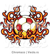 Vector of a Flaming Soccer Ball by Chromaco